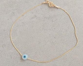 Gold Filled Evil Eye Anklet, Mother of Pearl Evil Eye, Eye Anklet, Protection Jewelry, Mother of pearl Ankle Bracelet