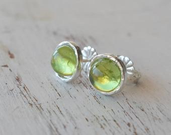 Peridot Stud Earrings,Green Peridot studs,Gemstone Earrings,August birthstone,Genuine Peridot,Dainty Earrings,Sterling silver or gold filled