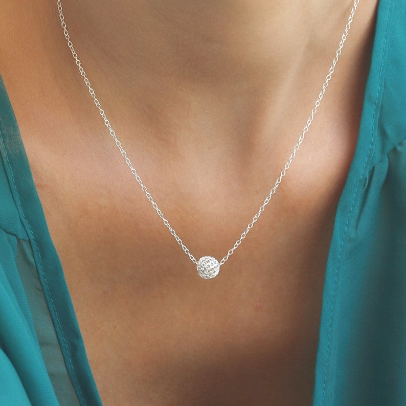 tiny silver necklace ball necklace everyday necklace Sterling silver necklace delicate necklace dainty necklace