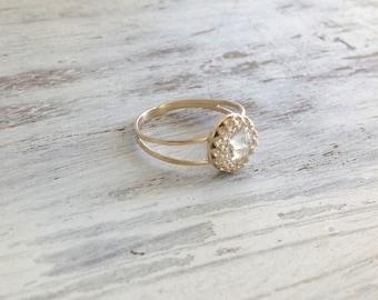 Gold ring, wedding ring, stacking ring, vintage ring, stackble ring, clear crystal ring, stackble gold ring, white 7020