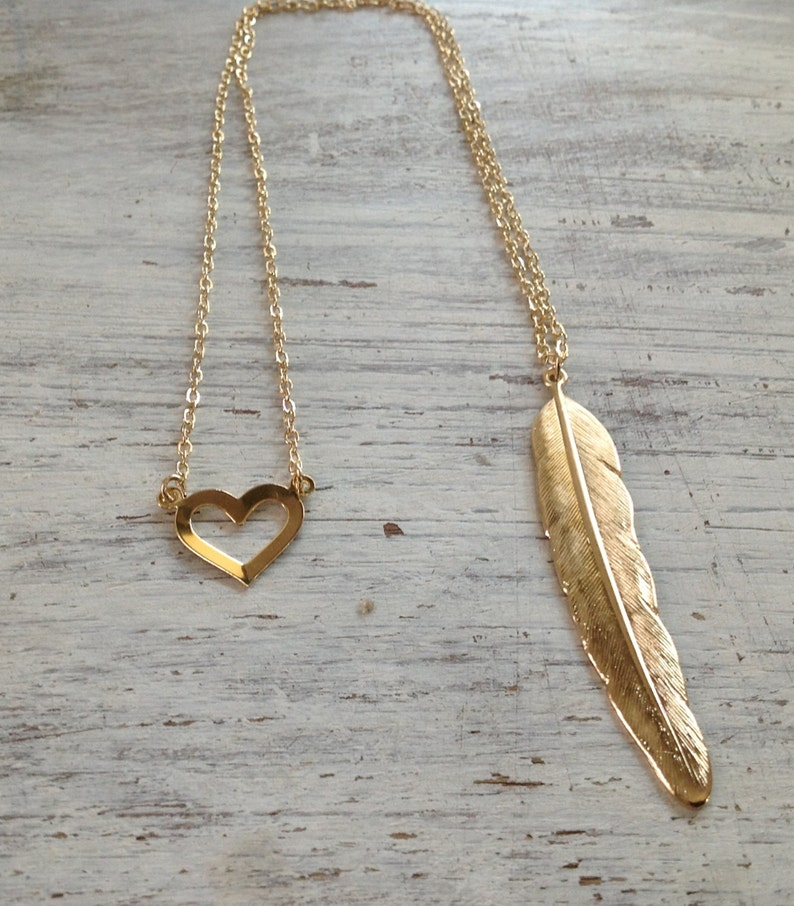 10030 unique necklace Double pendant necklace Feather and heart necklace front to back necklace Gold necklace back necklace
