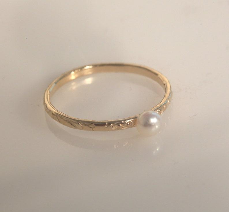 bd58d04ed Pearl ringthin gold ringstacking ringspearl ring | Etsy