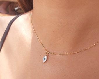 Evil Eye Necklace, Small Eye Necklace, Dainty Evil Eye Necklace, Evil Eye Jewelry, Protection Necklace, Eye Shell Necklace,Gold Eye Necklace
