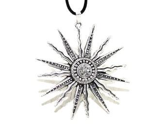 Sun Necklace, Silver Sun Necklace, Celestial Necklace, Sun Jewellery, Happy Necklace, Charm Necklace, Chunky Necklace, Striking Necklace