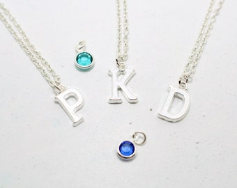Initial Necklace, Personalised Necklace, Personalized Jewelry, Silver Initial, Silver Necklace, Gift Idea, Birthstone Necklace, Pendant