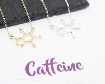 Caffeine Necklace, Caffeine Molecule, Teacher Gift, Coffee Addict Gift, Coffee Necklace, Scientist Necklace, Coffee Lover Gift