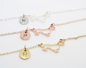 Personalised Sausage Dog Necklace, Initial Necklace, Initial Dog Necklace, Dachshund Necklace, Dachshund Jewellery, Personalised Dog Pendant