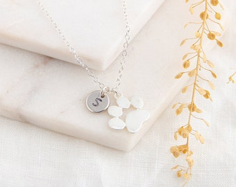 Paw Print Necklace, Initial Necklace, Silver Necklace, Dog Necklace, Custom Necklace, Pet Lover Gift, Cat Lover Gift, Personalized Pet
