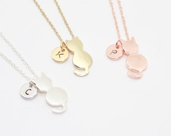 Cat & Initial Necklace, Cat Necklace, Personalised Cat Necklace, Cat Lover, Crazy Cat Lady, Rose Gold Cat, Cat Jewelry, Kitty Necklace, Cat