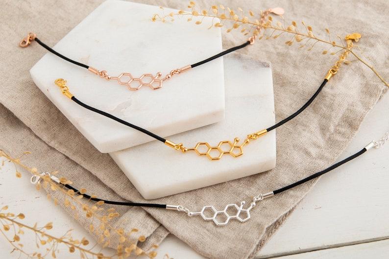 Science Teacher Gift Gold Bracelet Bracelets for Women Gifts for Women Gift for Her Feminist Feminist Oestrogen Molecule Bracelet
