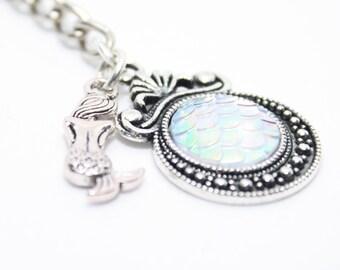 Mermaid Gift, White Mermaid Keychain, Mermaid Keyring, Mermaid Ideas, Mermaid Style, Mermaid Scale, Stocking Filler Gift, Gift Idea