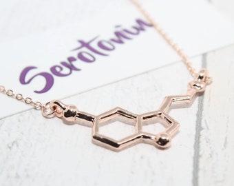 Rose Gold Serotonin Necklace, Serotonin Molecule Necklace, Rose Gold Jewelry, Serotonin, Chemistry Necklace, Molecular Structure Necklace