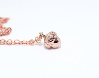 Acorn Necklace, Rose Gold Acorn Jewellery, Fall Jewelry, Autumn Jewellery, Woodlands Necklace, Rose Gold Necklace, Thanksgiving Gift
