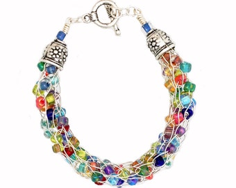 Beaded Wire Knit Bracelet with multicolor glass beads, Customizable with magnetic or toggle clasp