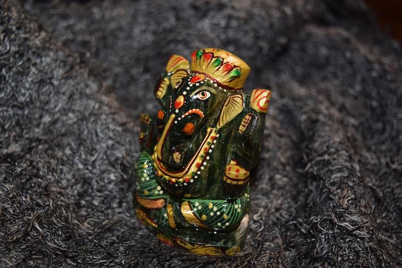 Sculpture Ganesha Ganesh Sacred Holistic Divine Spiritual Blessed Energized Aura Mystical Chakra Energy Hand Crafted Aventurine Idol,Figure