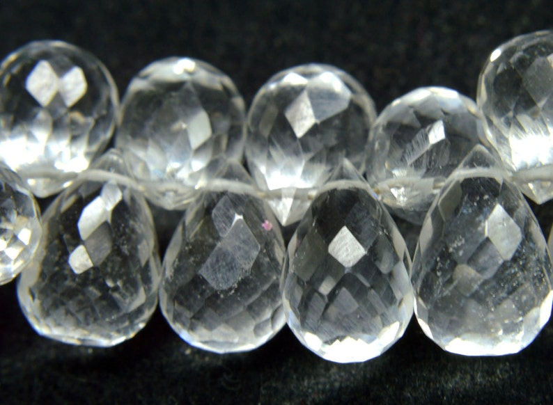 Natural Gemstone Crystal Quartz Side Drilled Drops Faceted Beads AAA Big Size 7x11mm Drops approx 200 Carats 8.50 Strand PH-077