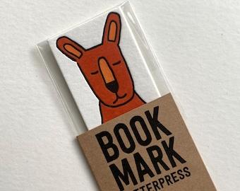 Kangaroo bookmark letterpress