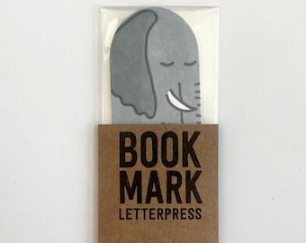 Elephant bookmark letterpress