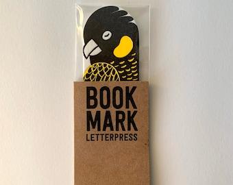 Yellow tailed black cockatoo bookmark letterpress