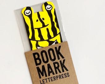 Southern Corroboree frog bookmark letterpress