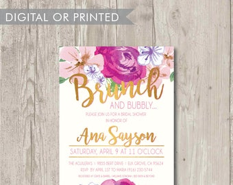 Custom Watercolor Floral Brunch Printable Invitation – Bridal Shower - Bachelorette Party - Baby Shower
