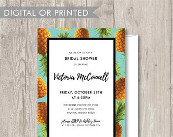 Custom Vibrant Tropical Pineapple Printable Invitation – Bridal Shower -  Birthday Party -  Baby Shower - Tropical Theme Party