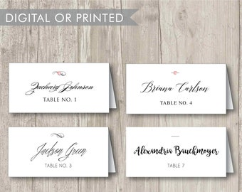 10 Custom Tented Escort Cards/Place Cards for Wedding Reception  – Rhinestone Embelishments Available