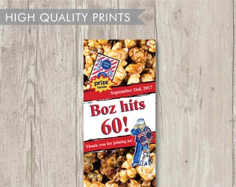 10 Custom Cracker Jack Box Label With Boy - Personalized With Name & Date - Baseball Favors - Wedding - Party