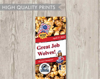 10 Custom Cracker Jack Box Label With Girl - Personalized With Name & Date - Baseball/Softball Favors - Birthday - Party - Bridal