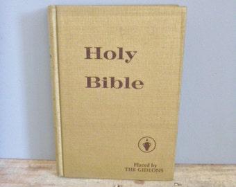 Holy Bible, vintage 1974 book, golden religious book, old bible, gold book, display book, prayer book