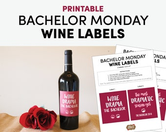 The Bachelor TV Show Wine Labels 2-Pack / Bachelor Monday Wine Bottle Label / Monday Wine Night / Viewing Party Supplies