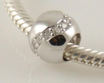Black and Clear Zigzag CZ Crystal .925 European Bead Charm