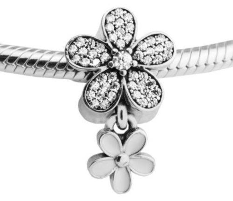 DOUBLE DAISY DROP .925 Sterling Silver European Charm Bead H18