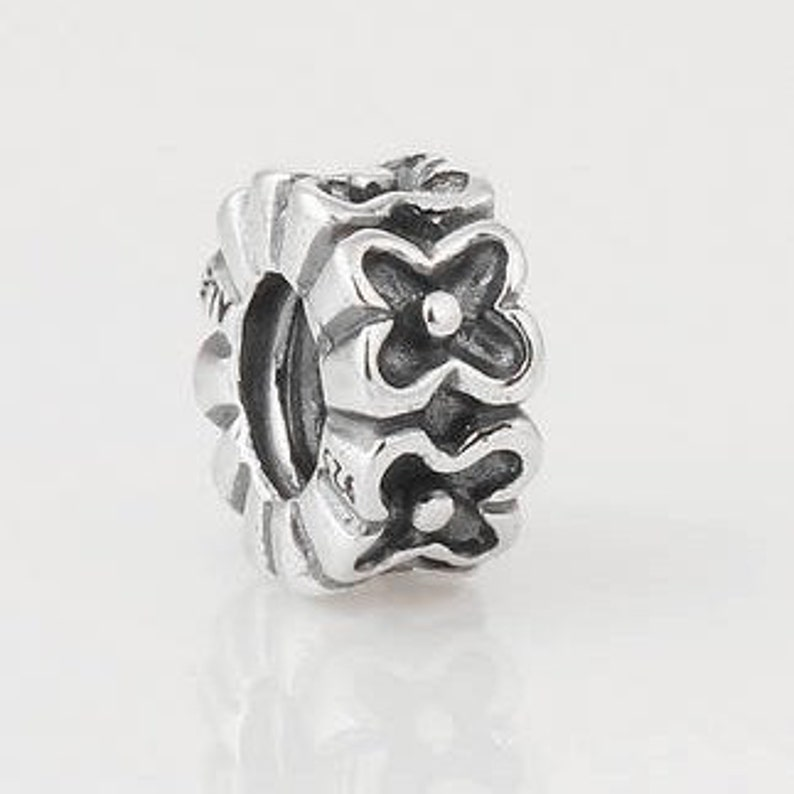 CRYSTAL MAGNOLIA BLOSSOMS .925 Sterling Silver European Charm Bead H17