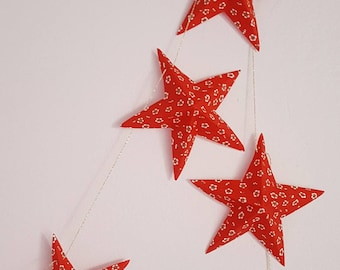 """The """"6 magic stars"""" paper Garland red and white small flowers"""