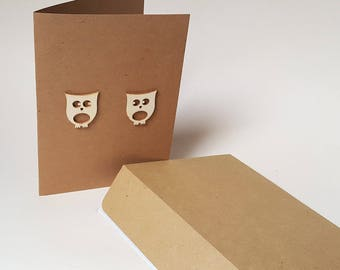 """The card """"The little owls"""" with its envelope"""