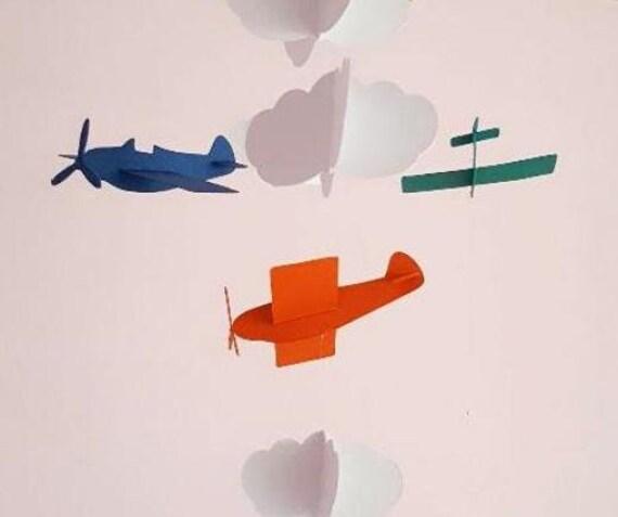 Mobile d/éco chambre enfant,avions nuages en papier cartonn/é,cercle bois