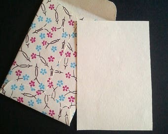 """Correspondence card """"The little flowers"""" and its envelope"""