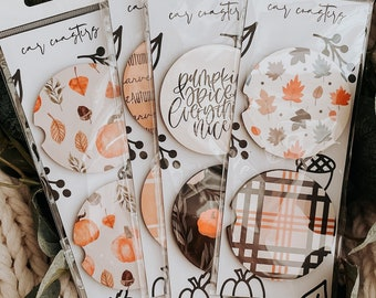 Fall Vibes Car Coasters - Set of 2 - custom designed - Car Decor - Accessories - drinkware