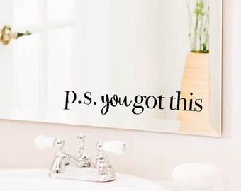 Mirror Decal, Bathroom Wall Decal, Bathroom Decor,Decor, Window Cling, Mirror Decal, Mirror Cling, Personalized, Inspirational Quotes