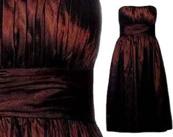 99abb00a331 STRAPLESS DRESS Bill Levkoff Chocolate Brown Satin Vintage 90s Size Small