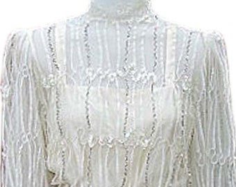 Vintage Silk And Lace Dress by designer Rina di'Montella embellished with Sequins and Beading - Fits Size Small (US Sz 6)