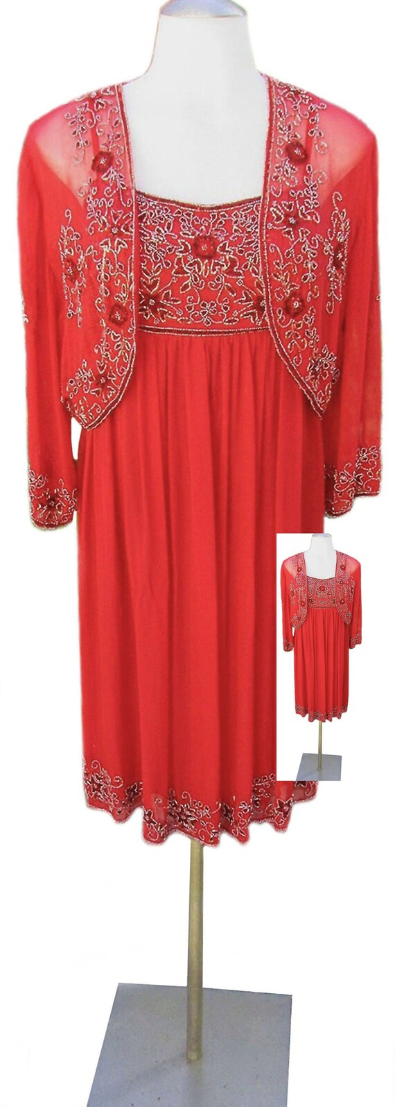 Red Silk Dress / Beaded / Sheer Cropped Jacket / V