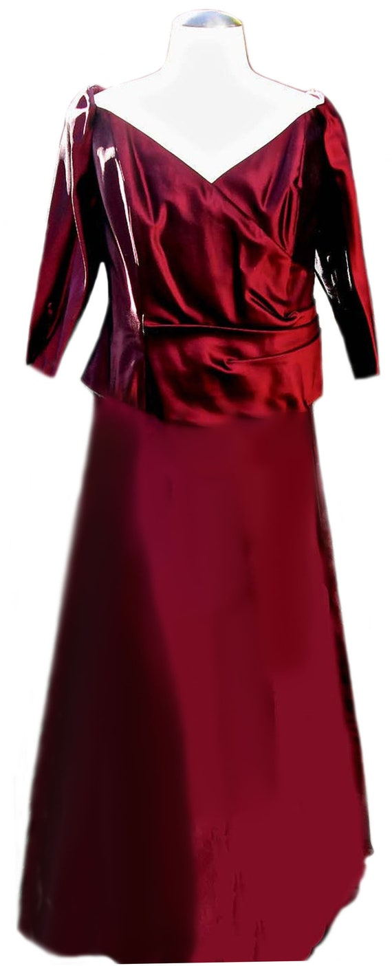Vintage Maroon Shiny Skirt Set Two Piece Skirt Suit Size M-XL 90s