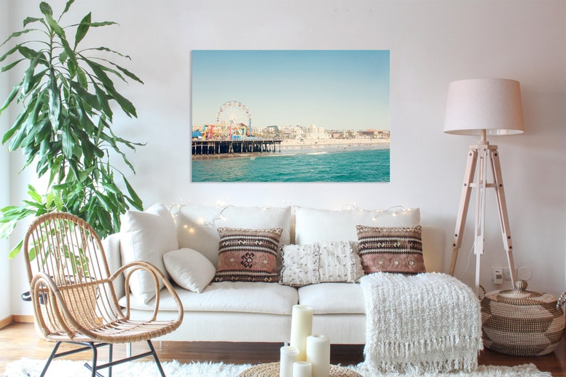 Santa Monica Pier Photography, California Print, Los Angeles photo, Large  Wal Decor, Ferris wheel, Horizontal Wall Art, Landscape Photo