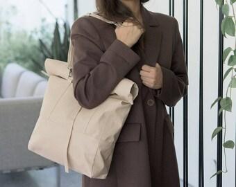 Rolltop Shoulder Bag Convertible Leather Backpack, Vegan Bag, Faux Leather backpack, Taschen, Roll top backpack, Vegan bag, Travel backpack