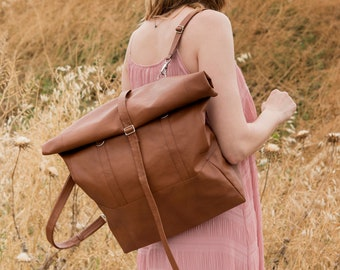 Convertible Backpack, Leather Tote Bag, Vegan Backpack, Faux leather roll top backpack, Vegan bag, Travel backpack, Graduation Gift