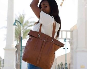 Faux Leather Shoulder bag, Leather satchel, Convertible Backpack, Vegan Bag, Roll top backpack, Travel backpack, Shopper Bag, Laptop Bag