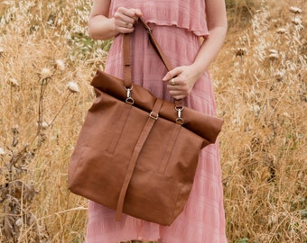 Convertible Leather Tote Bag, Vegan Backpack, Faux leather roll top backpack, Vegan bag, Travel bag, Graduation Gift, Women Shoulder bag