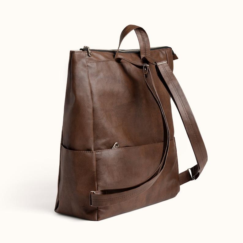 Vegan Rucksack Faux Suede Knapsack for Women Vegan bag Black Travel Backpack Laptop Bag Minimal Diaper Bag Vegan Leather Backpack